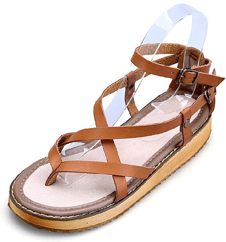 MRxcff Platform Sandals Split Leather Summer Flip Flops shoes Woman Wedges Flats Size 35-43 XWZ2111