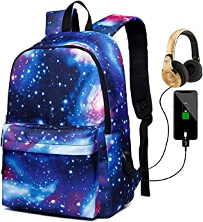 School Laptop Backpack with Charging Port, Starry Blue