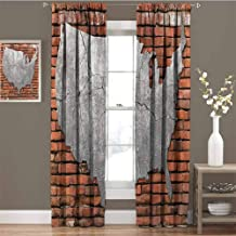 June Gissing USA Map Window Shades 63 inch Length, Cement Cracking America 3D Printed Pattern Linen Curtain 72 x 63