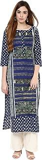 Women Indian Casual Long Tunic Printed Straight Crepe Kurta & Palazzo (Blue & Off-White)