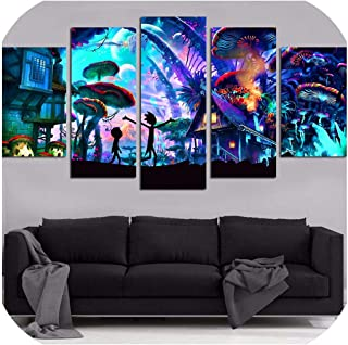 Canvas Wall Art Modular Pictures Home Decor 5 Pieces Rick and Morty Paintings Living Room Hd Printed Animation Posters Framework,10X15 10X20 10X25Cm,Frame