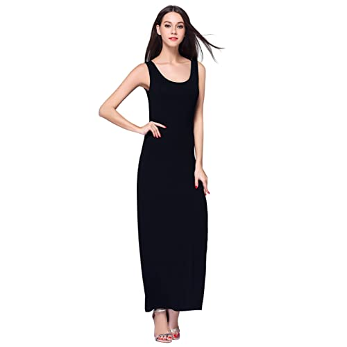 Women S Black Simple Long Dresses Amazon Com