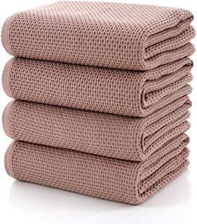 CC CAIHONG Towels Waffle Weave Drying Cotton Large Lightweight Thin Knit Bath Towel Set - (4 Pack 27 inch x 55 inch) - Brown