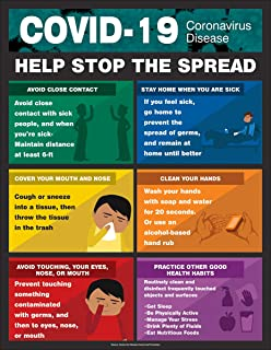 COVID-19 Help Stop The Spread Safety Poster, Laminated, 22
