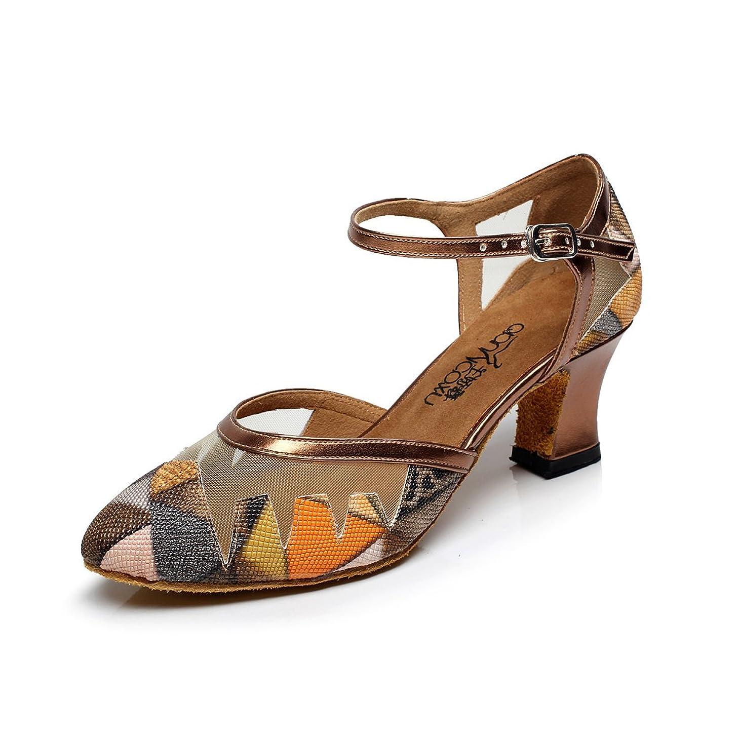 BAYSA Women Mesh Upper Leather Latin Dance Shoes 5.5CM Heel