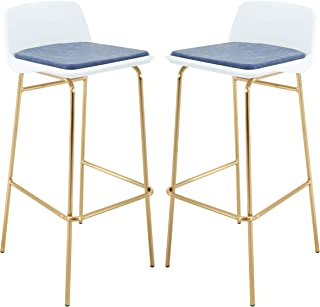 Brage Living Low Back White PP Seat Gold Bar Stool Set with PU Leather Cushioned - Blue (Set of 2)