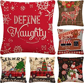 Faylapa 6 Pack Christmas Series Pillow Cases,Car Snowman Decorative Cushion Cover Cotton Linen Pillowcase Indoor Sofa Decorations 18×18 Inches (45×45cm)(Case ONLY)
