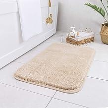Carvapet Non-Slip Bathroom Rug High Water Absorbent Bath Mat Microfiber Soft Plush Shaggy Mat, 16 by 24 inches, Beige