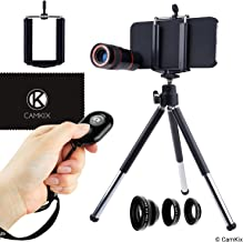 CAMKIX Lens Kit and Bluetooth Shutter Remote Compatible with Apple iPhone 5s / 5 / SE - Includes Bluetooth Camera Remote, 8X Telephoto, Fisheye, Macro and Wide Angle Lens, Tripod, Holder, Case, Cloth