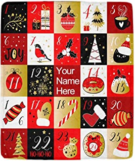 MyPupSocks Custom Personalized Text Your Name Advent Calendar Christmas Fleece Blanket Ultra-Soft Micro Cozy Blanket for Couch Sofa or Bed Home Decor 50 X 60 Inches