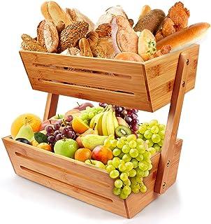 Corbeille à fruits en bambou à 2 étages - Panier de rangement pour plan de travail de cuisine, rangement décoratif