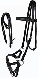 Challenger Tack Horse Western English Black Leather BITLESS Bridle SIDEPULL REINS Full 7703BK-F