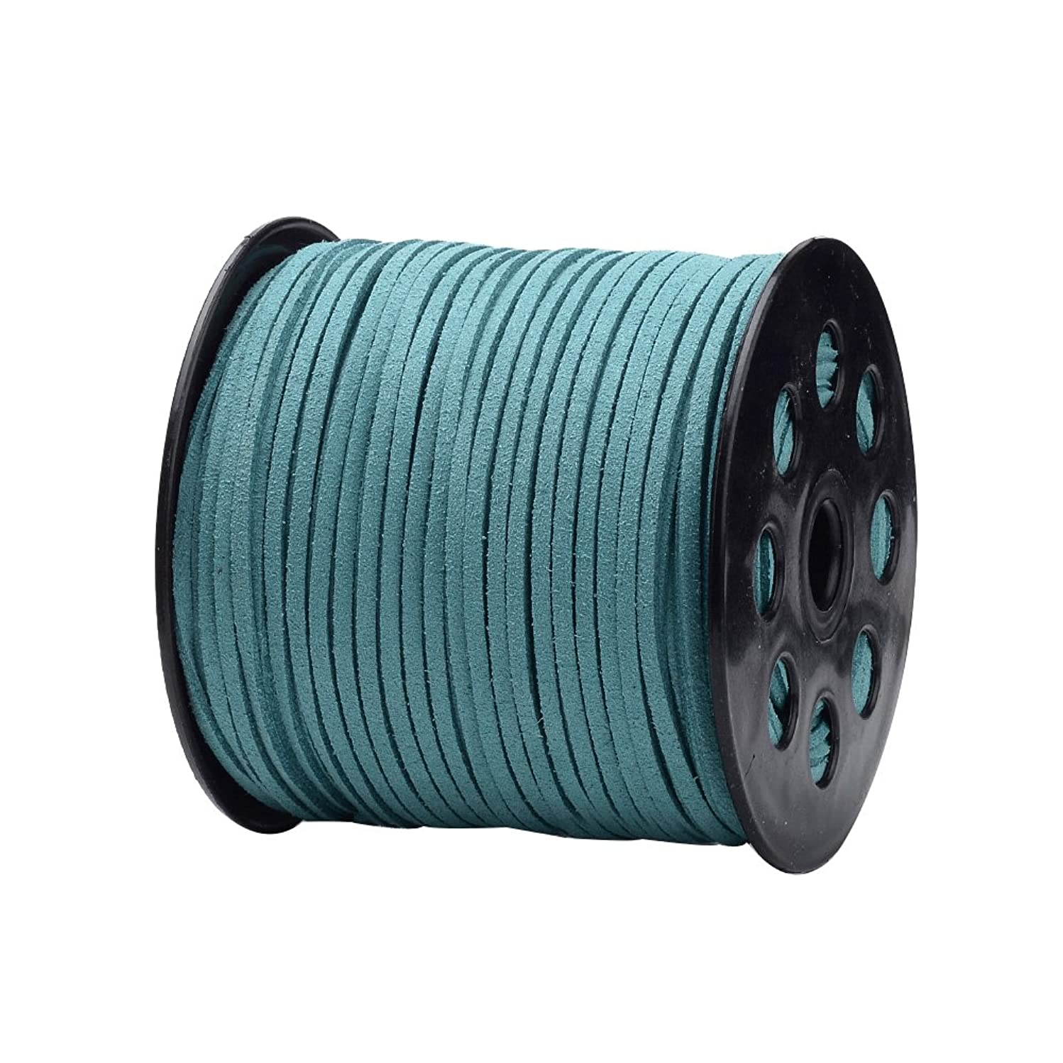 NBEADS 2.7mm 98 Yards/Roll Cadet Blue Color of Micro Fiber Lace Flat Faux Suede Leather Cord Beading Thread Cords Braiding String for Jewelry Making