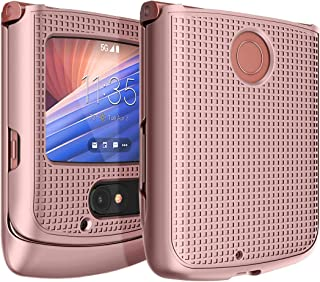 Case for Motorola RAZR 5G Flip Phone, Nakedcellphone [Rose Gold Pink] Protective Snap-On Hard Shell Cover [Grid Texture] f...