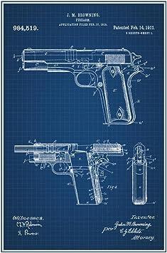 1816.Gun trigger vintage Poster B/&W House Wall Decorative Art.Interior design