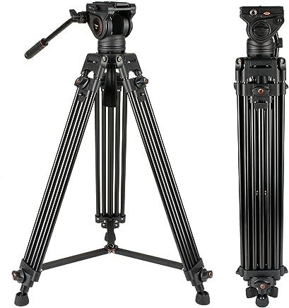 $128 » Heavy Duty Video Tripod, Cayer 64 Inch BV30-Camcorder Tripod System Aluminum Leg, K3 Fluid Head, Mid-Level Spreader, Max Loading 13.2 LB, DSLR Shooting, Plus 1 Bonus Quick Release Plate, Carrying Bag