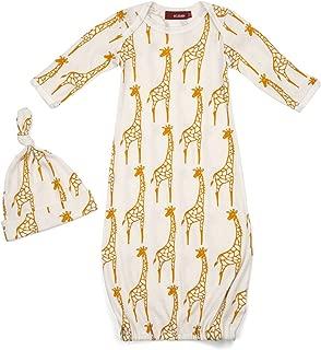 Milkbarn Organic Cotton Gown and Hat Set Yellow Giraffe 0-3 Months