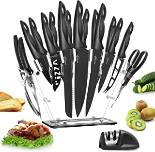 Ensemble de Couteaux de Cuisine, Couteau de Cuisine 18 Pièces avec Bloc à Couteaux, Ensemble de Couteaux de Cuisine en Aci...
