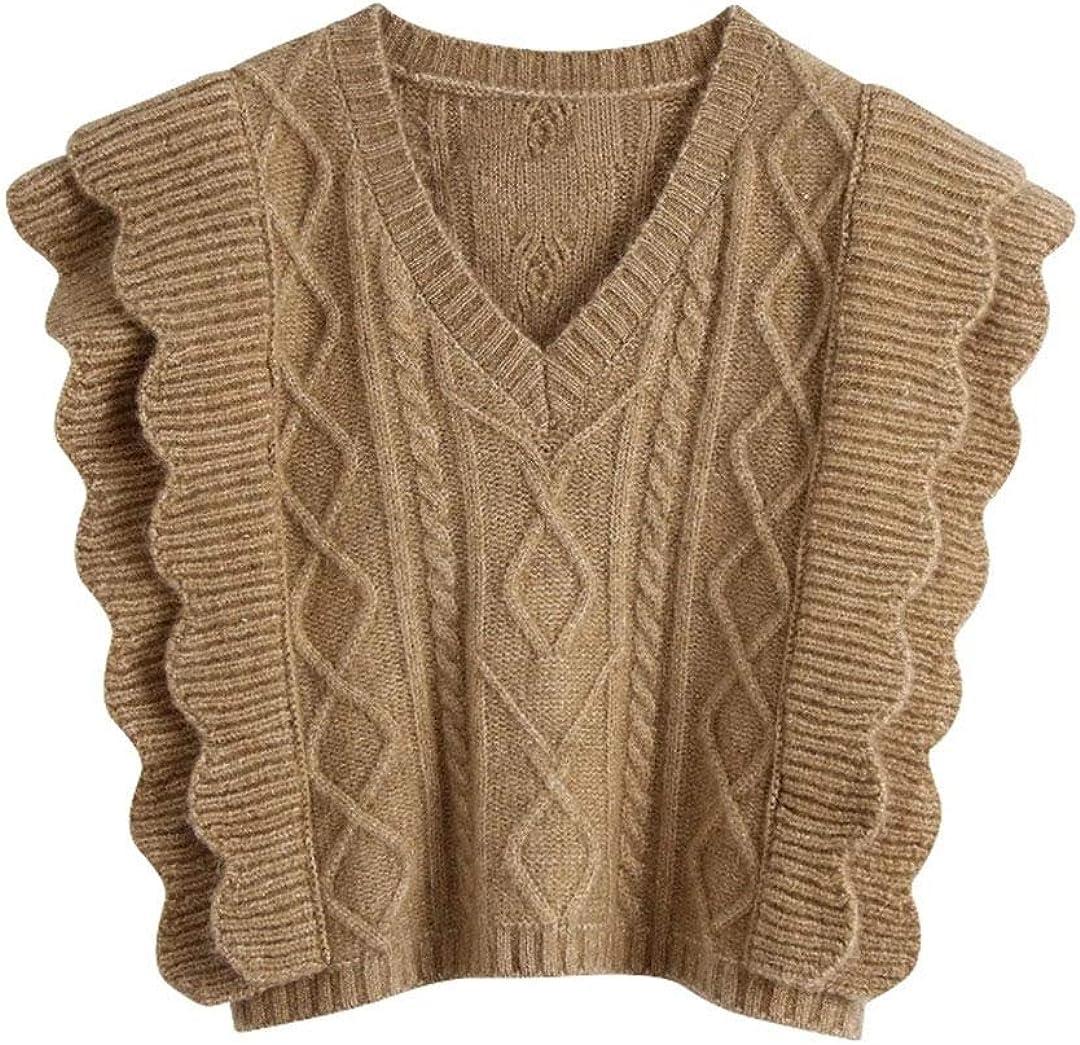 Women Fashion V Neck Crochet Knitting Sweater Female Sleeveless Cascading Ruffle Casual Vest Chic Pullovers Tops