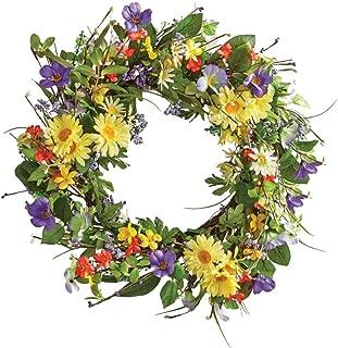 Collections Etc Wild Daisy Floral Twig Door Wreath, 19 1/2