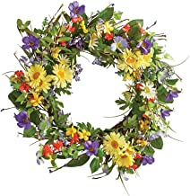 Collections Etc Wild Daisy Floral Twig Door Wreath, 19 1/2