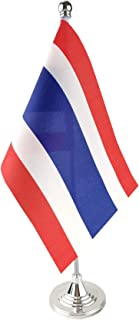 GentleGirl.USA Thailand Table Flag, Stick Small Mini Thai Flag Office Table Flag on Stand with Stand Base, International Festival Decoration,Thailands Theme Party Decoration,Home Desk Decoration