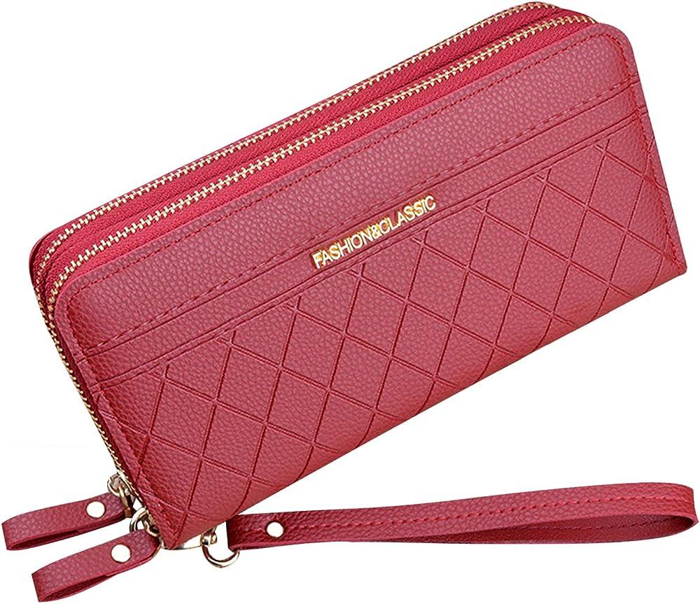 Yixuan llc, portafoglio donna con doppia cerniera, porta carte di credito, in pelle sintetica, rosso