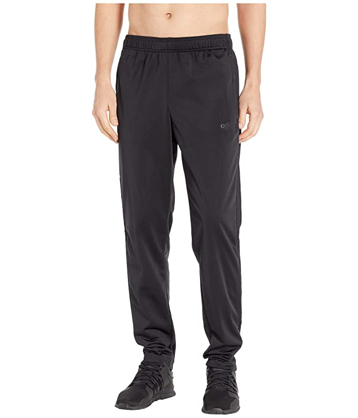 adidas  Essentials 3-Stripe Tricot Tapered Pants (Black/Black) Mens Workout