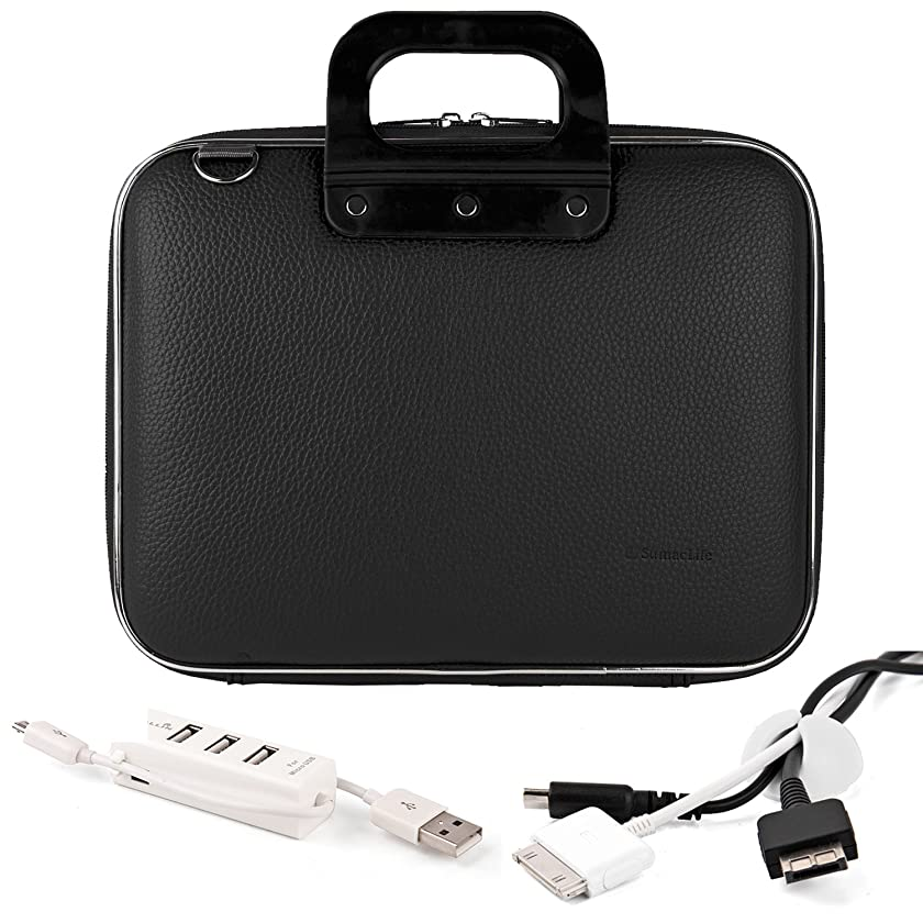Caddy Series Premium Leather Hard Briefcase Carrying Cube with Handles and Shoulder Straps For Samsung Series 9 13.3-Inch Ultrabook + White Cable Organizer + White 3 Port USB HUB with Micro USB Charger