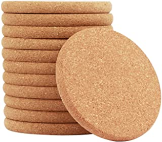 Natural Cork Round Edge Coasters -12 Packs Extra Thick Wooden Drink Coaster, 4 inch Diameter and 2/5 inch Thick Plain Abso...