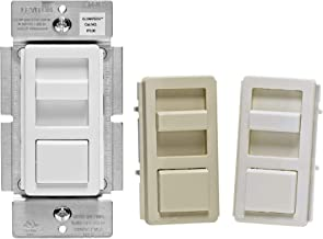 Leviton IPL06-10Z IllumaTech Slide Dimmer for 150-Watt Dimmable LED, 600-Watt Incandescent/Halogen, White w/ Color Change Kits Included