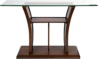 Furniture of America Veretta Sofa Table with 10mm Beveled Glass Top, Brown Cherry