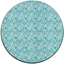 Round Area Rug Leaves Flower Pattern Casual Non-Slip Living Bedroom Rug Bath Door Mat Indoor Outdoor Mats Rug Pads