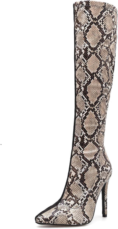 stövlar, höga stövlar, Stilettos, Pointed skor, Autumn and Winter, Sexy Sexy Sexy Snakeskin Stickande Stövlar  högkvalitativa varor och bekväm, ärlig service