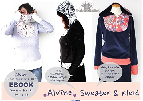 Alvine Sweater Kleid und Rock in 14 Größen 32-58 Schnittmuster und Nähanleitung [Download]