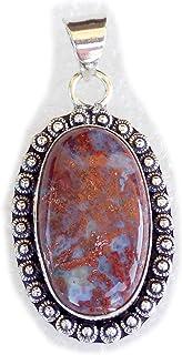 Bloodstone Pendant, Silver Plated Brass Pendant, Handmade Pendant, Gift Jewelry, Women Jewellry, Fashion Jewellry, BRS-12347