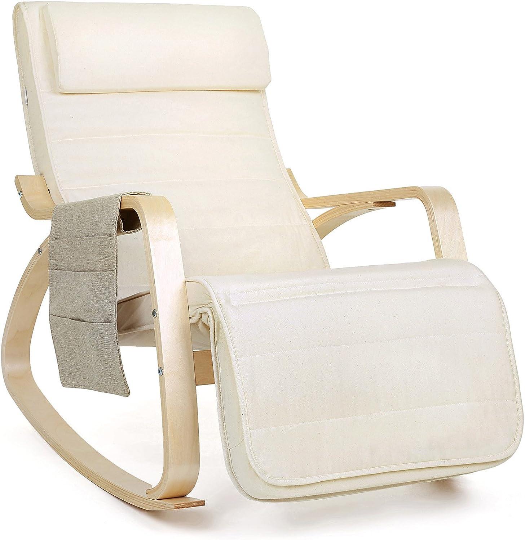 SONGMICS Sessel Relaxstuhl Schaukelstuhl 5-Fach verstellbare Wadenstütze mit seitlicher Tasche Belastbarkeit 150 kg beige LYY01M, Baumwolle, Beige-01m, 67 x 115 x 91 cm