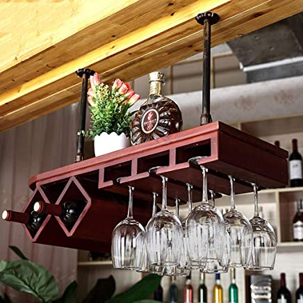 tamaño : 80 * 31cm cubiletes de Cristal de la Copa de Champán creativos Stemware Rack Holder DUOER-botellero Estante Industrial del Vino de la ejecución del Hierro de Madera sólida