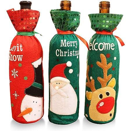 MMTX 3pcs Natale Babbo Rosso Copertura della Bottiglia di Vino Sacchetti Borse Lovely Natalizie Vino Rosso Coulisse Tessuto Non Pouch Table Dinner Decorazioni Festa a Casa Decori