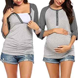 Ekouaer Women's Maternity Nursing Top 3/4 Sleeve Breastfeeding Henley Shirt Soft Tees Baseball T-Shirts (S-XXL)