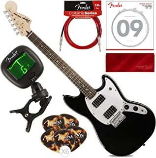 Fender Bullet Mustang HH 6 String Electric Guitar, Black with Guitar Strings, Picks, Tuner, Cable & Cloth Starters Pack Bundle