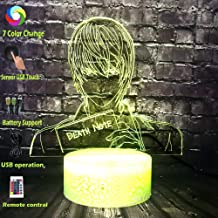 Hot Lava Death Note Cool Japan Anime Figure Yagami Light Novel Cartoon Night Lamp Table LED 7 Color USB Mood Luster Holiday Friend Gift Kids Baby Produce Toy(Death Note)