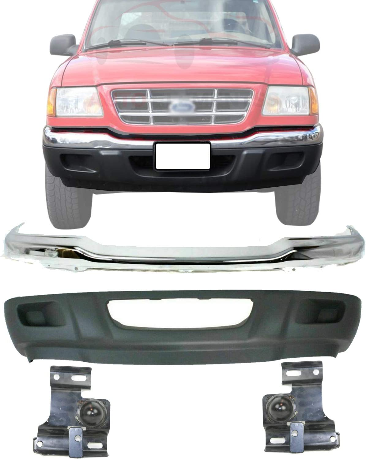 New Front Bumper Max 79% OFF Chrome Steel + Lower Brackets P Seasonal Wrap Introduction Valance Right