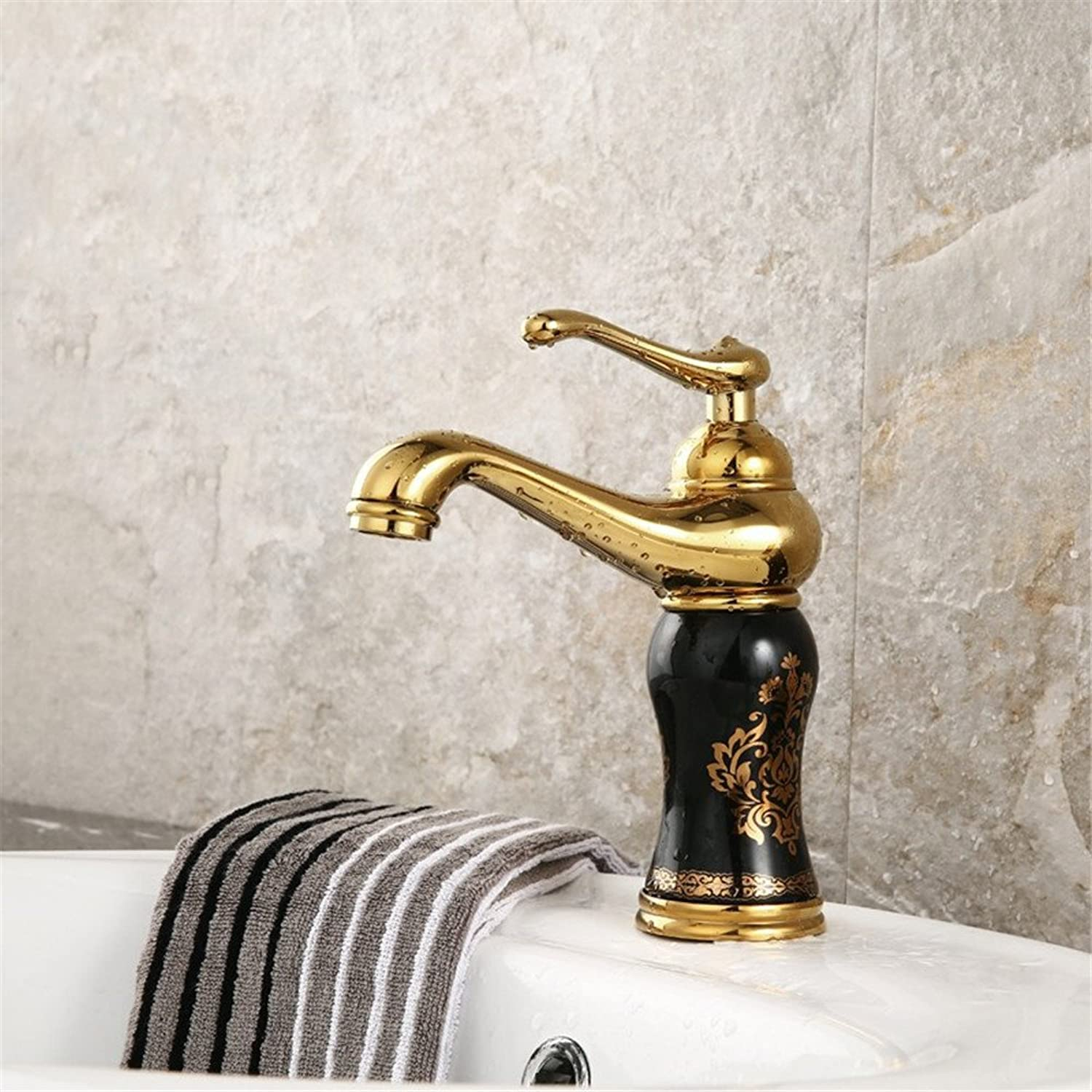 Kokeruup Copper European Faucet Bathroom Faucet hot and Cold wash Basin Antique Faucet Single Hole Black Pattern