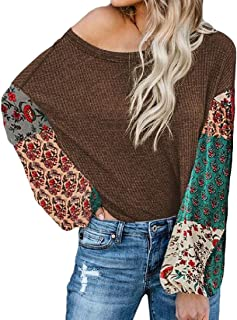 Women Winter Fashion Knitted Patchwork Floral Print Long Sleeve Pullover Casual Sweater Blouse