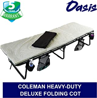 Oasis Coleman Deluxe Folding Cot - Portable, Heavy-Duty & Easy to Carry Construction - Bonus Item Includes LED Flashlight, Side Storage Bags, Bottle Holders & Blanket - 5 Years Warranty