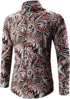Joe Wenko Men Slim Fit Flower Paisley Button Front Thin Long Sleeve Shirts