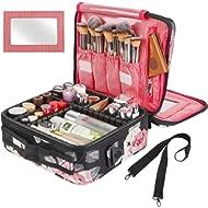 Kootek Travel Makeup Bag 2 Layer Portable Train Cosmetic Case Organizer with Mirror Shoulder...