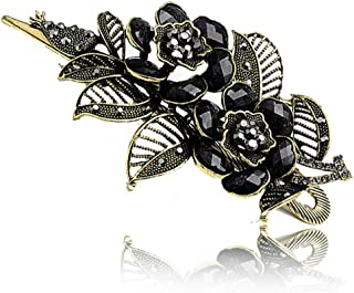Buankoxy Vintage Elegant Jewelry Crystal Hair Clips Hairpins- For Hair Clip Beauty Tools (Black)