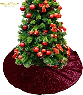 Christmas Tree Skirt Burgundy Glitter Sequin Tree Skirt 30Inch Tree Skirt Unique Sparkly Glittery Holiday Embroidery Sequin -190919
